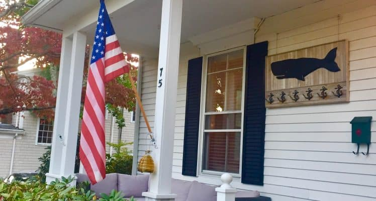 The Front porch with a Flag